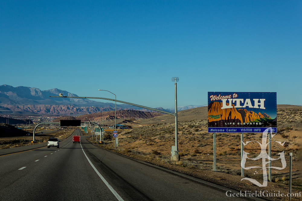 Crossing the state line into Utah on I-15.