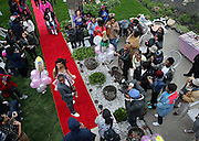 Family, friends and neighbors reacts as Te'airah Gaylord and Raymond Solomon make their red carpet entrance Friday, May 2, 2014 at their prom send-off party in an Austin backyard. Te'airah, 17, is a senior at Notre Dame High School for Girls and the celebration was at her grandmother and great-grandmother's home. (Brian Cassella/Chicago Tribune) B583688985Z.1 <br /> ....OUTSIDE TRIBUNE CO.- NO MAGS,  NO SALES, NO INTERNET, NO TV, CHICAGO OUT, NO DIGITAL MANIPULATION...