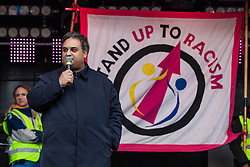 London, UK. 16th March, 2019. Claude Moraes, Labour MEP for London, addresses thousands of people on the March Against Racism demonstration on UN Anti-Racism Day against a background of increasing far-right activism around the world and a terror attack yesterday on two mosques in New Zealand by a far-right extremist which left 49 people dead and another 48 injured.