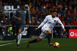 February 10, 2019 - Valencia, Spain - Theo Hernandez of Real Sociedad (L) and Piccini of Valencia CF during  spanish La Liga match between Valencia CF v Real Sociedad at Mestalla Stadium on February 10, 2019. (Photo by Jose Miguel Fernandez/NurPhoto) (Credit Image: © Jose Miguel Fernandez/NurPhoto via ZUMA Press)