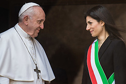 March 26, 2019 - Rome, Italy - POPE FRANCIS is welcomed by Rome's mayor VIRGINIA RAGGI during his visit to the Rome's City Hall. (Credit Image: © Valerio Portelli/LaPresse via ZUMA Press)