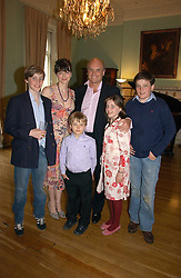 NICHOLAS & GEORGIA COLERIDGE with their children left to right, ALEXANDER, TOMMY, SOPHIE and FREDDIE at a party to celebrate the publication of 'A Much Married Man' by Nicholas Coleridge held at the ESU, Dartmouth House,  37 Charles Street, London W1 on 4th May 2006.<br />