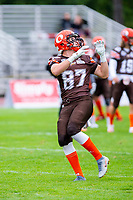 KELOWNA, BC - SEPTEMBER 8:  Kaden Wagner #87 of Okanagan Sun warms up on the field against the Langley Rams  at the Apple Bowl on September 8, 2019 in Kelowna, Canada. (Photo by Marissa Baecker/Shoot the Breeze)