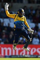 Cricket - 2019 ICC Cricket World Cup - Group Stage: England vs. Sri Lanka<br /> <br /> Sri Lanka's Kusal Perera celebrates catching England's Adil Rashid, at Headingley, Leeds<br /> <br /> COLORSPORT/ASHLEY WESTERN