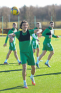 Joe Newell (#11) of Hibernian FC throws the ball during the training session for Hibernian FC at the Hibs Training Centre, Ormiston, Scotland on 26 February 2021, ahead of the SPFL Premiership match against Motherwell.