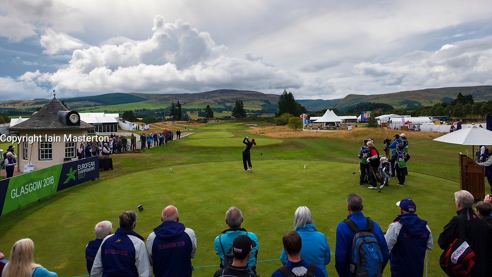 Gleneagles, Scotland, UK; 10 August, 2018.  Day three of European Championships 2018 competition at Gleneagles. Men's and Women's Team Championships Round Robin Group Stage. Four Ball Match Play format.  Pictured; Great Britain's Georgia Hall tees off on the first hole in match against Belgium.