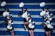 Cheerleaders celebrate a made free-throw by Citadel forward Hayden Brown during a Southern Conference game between The Citadel and UNCG at McAlister Field House at The Citadel in Charleston, South Carolina on Wednesday, February 3, 2021. Credit: Cameron Pollack / Citadel Athletics