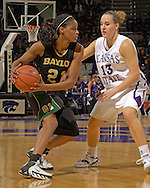 Baylor's Chameka Scott (L) against pressure from Kansas State's Kimberly Dietz (R) during the second half at Bramlage Coliseum in Manhattan, Kansas, February 25, 2006. The 10 ranked Lady Bears defeated K-State 79-70.