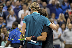 September 10, 2017 - New York, New York, USA - SEP 10, 2017: (R-L) Rafael Nadal (ESP) and Kevin Anderson (RSA)during the 2017 U.S. Open Tennis Championships at the USTA Billie Jean King National Tennis Center in Flushing, Queens, New York, USA. (Credit Image: © David Lobel/EQ Images via ZUMA Press)