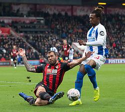 AFC Bournemouth's Steve Cook (left) tackles Brighton & Hove Albion's Gaetan Bong
