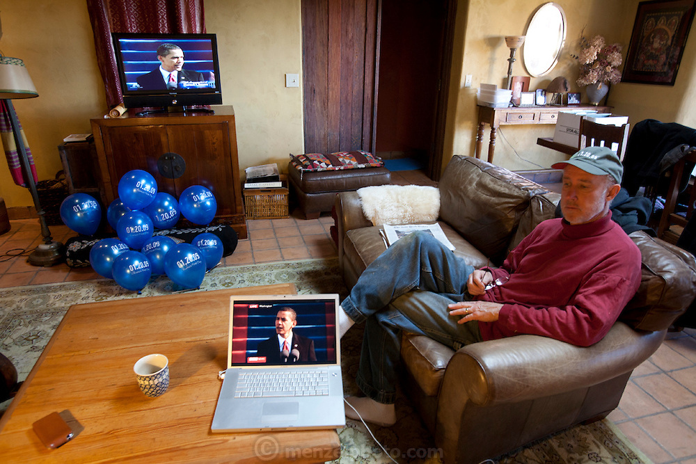 Watching inauguration of Barack Obama on TV at Menzel D'Aluisio home, Napa Valley, CA. January 20, 2009.