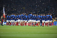 French team during the national anthem during the Rugby World Cup Pool D match between France and Italy at Twickenham, Richmond, United Kingdom on 19 September 2015. Photo by Matthew Redman.