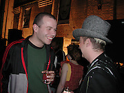 Wolfgang Tillman and Boy george. Smile1-D in association with Emporio Armani.  Wapping Power Station. 3 April 2001. © Copyright Photograph by Dafydd Jones 66 Stockwell Park Rd. London SW9 0DA Tel 020 7733 0108 www.dafjones.com