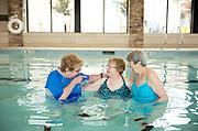 Senior women friends in pool
