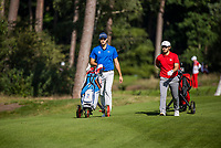 HILVERSUM -  Julien Sale (Fr) and Mauro Gilardi (Sui)   /  Swiss wins from France. Quarter finals. ELTK Golf 2020 The Dutch Golf Federation (NGF), The European Golf Federation (EGA) and the Hilversumsche Golf Club will organize Team European Championships for men. COPYRIGHT KOEN SUYK