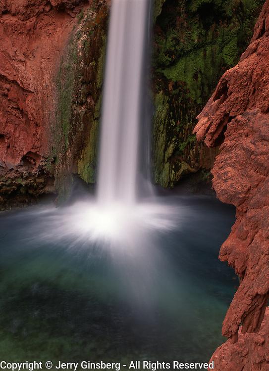 Turquoise pool at the base of lovely Mooney Falls, Havasu Canyon, AZ.