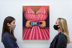 """© Licensed to London News Pictures. 13/05/2021. LONDON, UK.  London, UK.  13 May 2021. Staff members view """"Untitled (seatbelt)"""", 2021, by Julie Curtiss.  Preview of """"Monads and Dyads"""", the first London exhibition by New York-based artist Julie Curtiss.  Her surrealist works feature new paintings, works on paper and sculptures.  The show is at White Cube Mason's Yard in Mayfair 14 May to 26 June 2021.  Photo credit: Stephen Chung/LNP"""