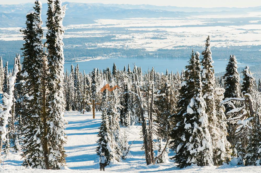 Winter skiing at Brundage Mountain Resort, McCall, Idaho.