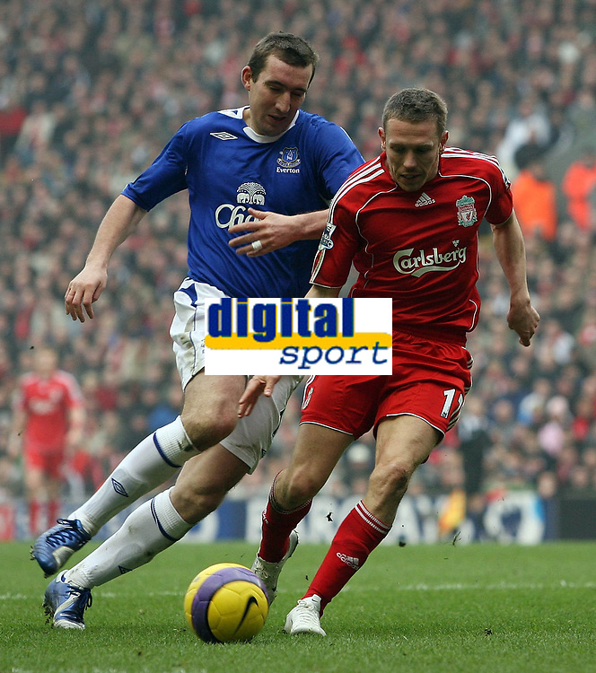 Photo: Paul Thomas.<br /> Liverpool v Everton. The Barclays Premiership. 03/02/2007.<br /> <br /> Alan Stubbs (L) of Everton tries to keep up with Craig Bellamy.