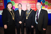 Cllr Mary Hoade with Damien English TD, Minister of State at the Department of Jobs, Enterprise & Innovation<br /> , Cllr Donal Lyons Mayor of Galway and Chairman SCCUL Enterprises John Lenihan at the annual SCCUL Enterprise Awards prize giving ceremony and business expo which was hosted by NUI Galway in the Bailey Allen Hall, NUIG. Photo:Andrew Downes