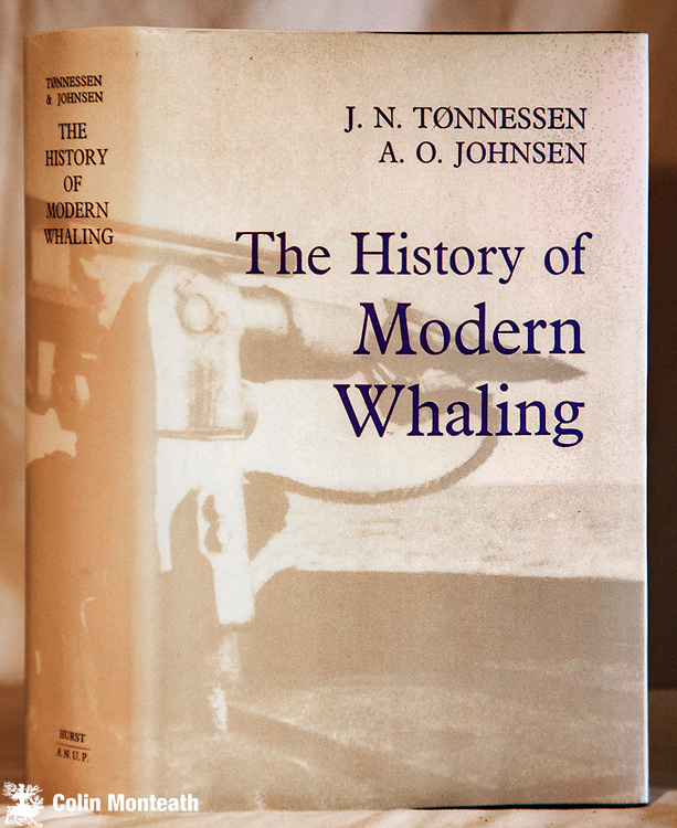 THE HISTORY OF MODERN WHALING -Tonnessen & Johnsen - Hurst & Co., London, 1982, 800 pages, VG+ with facsimile jacket, some minor foxing, profusely illustrated with B&W plates, maps, tables and diagrams, originally published in Norwegian in 4 volumes...this English edition has been condensed into one truly superb/comprehensive volume....a staggering piece of research - $NZ120.