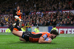 Castleford Tigers' Luke Gale scores his sides first and only try of the game during the Betfred Super League Grand Final at Old Trafford, Manchester.