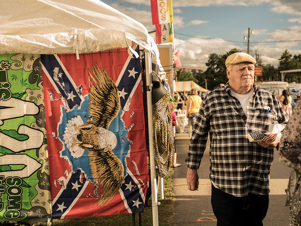A Trump supporter on his way to see Donald Trump speak in Lisbon, ME