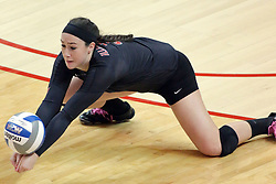 17 October 2014:  Emily Orrick digs out a hit close to the floor during an NCAA Missouri Valley Conference (MVC) womens volleyball match between the Northern Iowa Panthers and the Illinois State Redbirds for 1st place in the conference at Redbird Arena in Normal IL