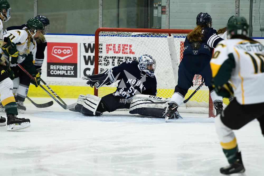 Mount-Royal's goalie in action during the Women's Hockey home game on October 14 at Co-operators arena. Credit: Arthur Ward/Arthur Images