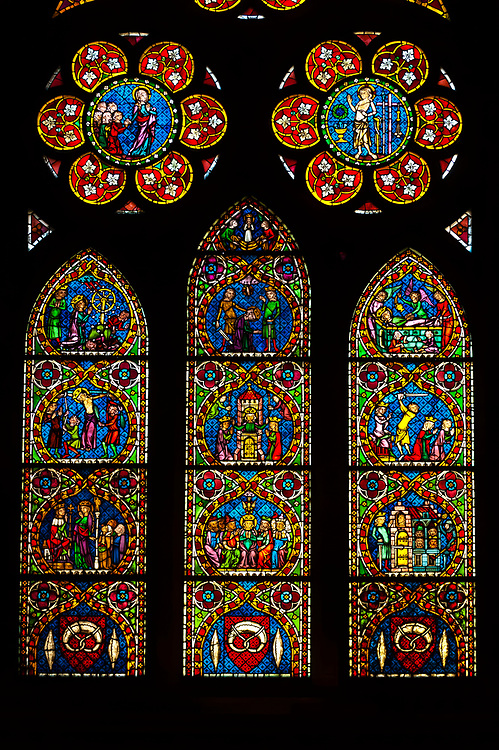 Baker's Guild window, Stained glass inside the Munster (Cathedral of Our Lady), Freiburg, Baden-Württemberg, Germany