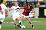 04 December 2011: Stanford's Taylor McCann (13) and Duke's Maddy Haller (18). The Stanford University Cardinal defeated the Duke University Blue Devils 1-0 at KSU Soccer Stadium in Kennesaw, Georgia in the NCAA Division I Women's Soccer College Cup Final.