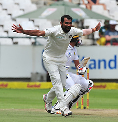 Cape Town 180108  Indian fast bowler  Muhamed Shami appeals for a LWB against Sout African betsman Keshav Maharaj at Newlands stadium in Cape Town,where the two countries are playing  their  2018 sunfoil cricket test.  Picture:xPhando Jikelo/African News Agency(ANA)