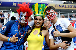 Fans in the stands before the FIFA World Cup Final at the Luzhniki Stadium, Moscow.