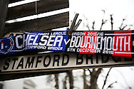 a Chelsea v Bournemouth scarf outside Stamford Bridge before k/o. Barclays Premier league match, Chelsea v AFC Bournemouth at Stamford Bridge in London on Saturday 5th December 2015.<br /> pic by John Patrick Fletcher, Andrew Orchard sports photography.