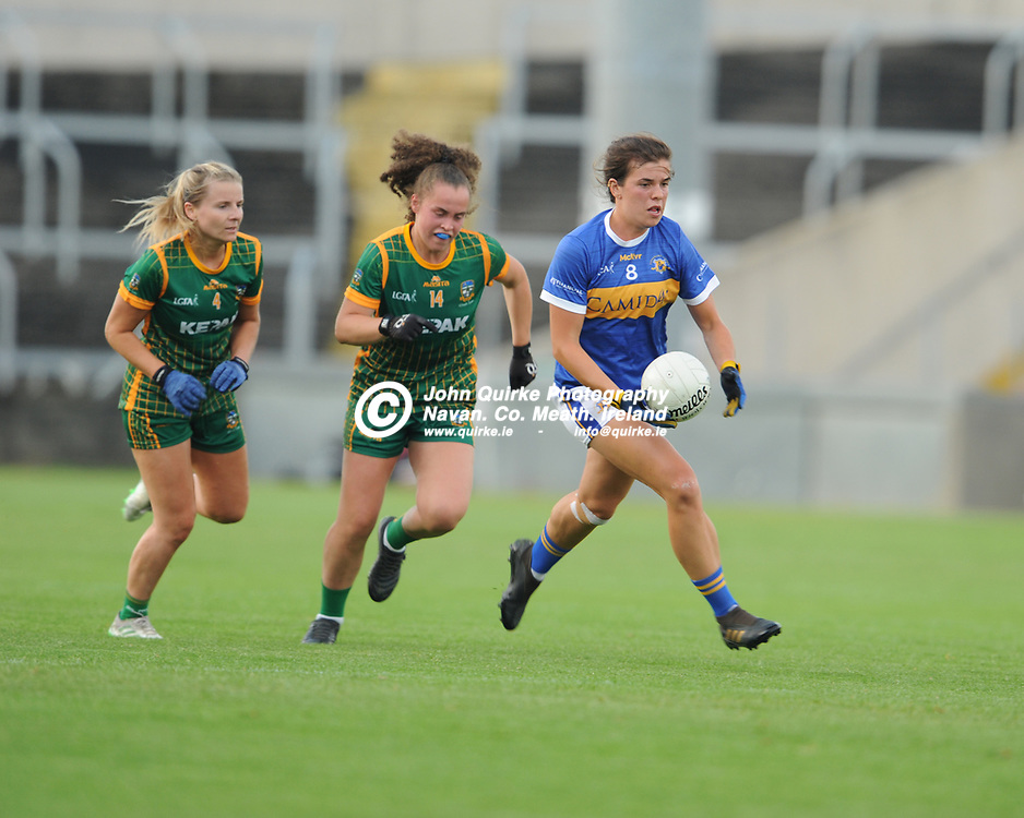 23-07-21. Meath v Tipperary - LGFA All-Ireland Senior Championship - Group 3 Round 2 at O'Moore Park, Portlaoise.<br /> Anna Rose Kennedy, Tipperary in action Emma Duggan, against Meath in the LGFA All-Ireland Senior Championship.<br /> Photo: John Quirke / www.quirke.ie<br /> ©John Quirke Photography, 16 Proudstown Road, Navan. Co. Meath. (info@quirke.ie / 046-9028461 / 087-2579454).