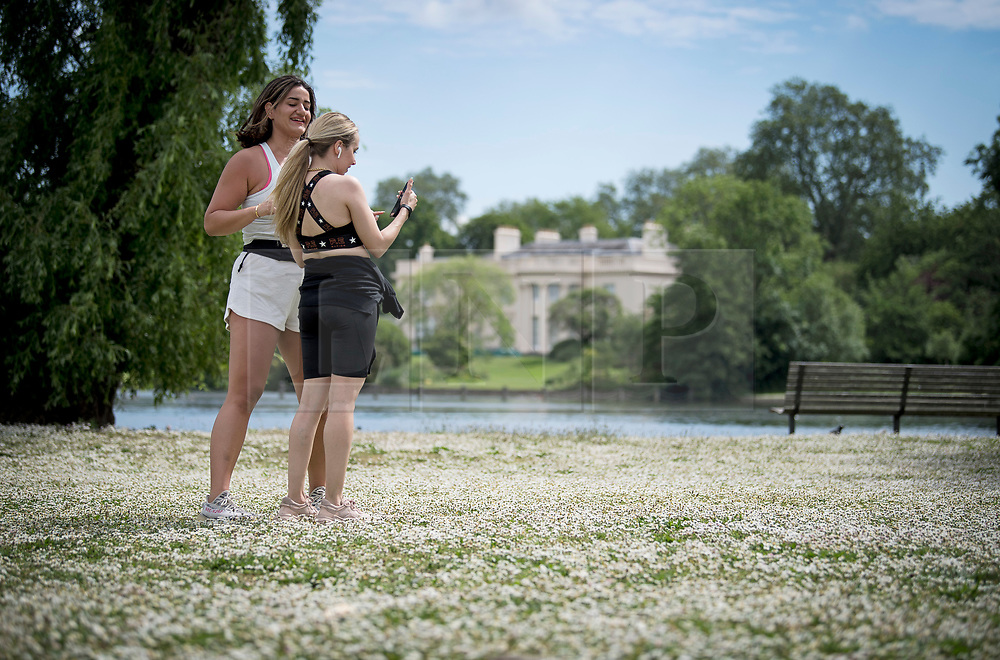 © Licensed to London News Pictures. 07/06/2021. London, UK. Two women take pictures of a flower covered field in Regents Park, central London on a warm summers morning. Photo credit: Ben Cawthra/LNP