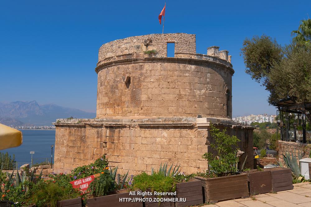 Ancient Hidirlik Tower in Antalya old town, Turkey