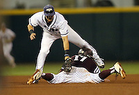 Texas A&M's Joel Davis (17) steals second base under the late tag of TCU's Cam Warner (4) during the fourth inning of a NCAA college baseball Super Regional tournament game, Saturday, June 11, 2016, in College Station, Texas. (AP Photo/Sam Craft)