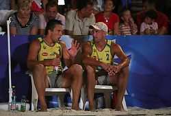Samo Miklavc and Damir Sabec (Marchiol 1 Team) at qualifications for 14th National Championship of Slovenia in Beach Volleyball and also 4th tournament of series TUSMOBIL LG presented by Nestea, on July 25, 2008, in Kranj, Slovenija. (Photo by Vid Ponikvar / Sportal Images)/ Sportida)