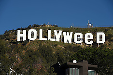 California - Hollywood Sign Vandalized Briefly Reads 'Hollyweed' - 01 Jan 2017