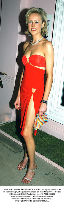 LADY ALEXANDRA SPENCER-CHRUCHILL daughter of the Duke of Marlborough, at a party in London on 11th May 2004.PTZ 62