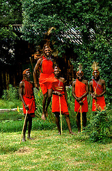 Kenya East Africa, Masai tribal dancers at Samburu, villagers, tribesmen, traditional dancing        .Photo copyright: Lee Foster, www.fostertravel.com, photo kenyas103, 510-549-2202, lee@fostertravel.com