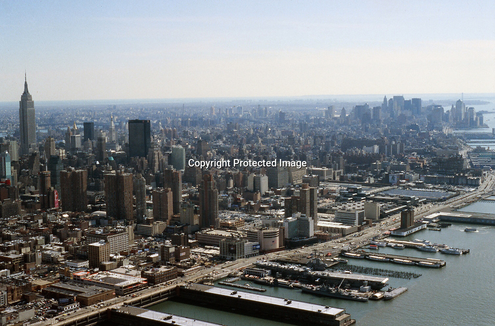 Aerial view of West side of New York City and Midtown Manhattan and Hudson River parkway view south towards New York harbor