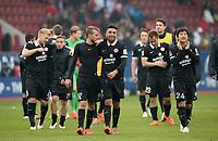 Fotball<br /> Tyskland<br /> 14.03.2015<br /> Foto: Witters/Digitalsport<br /> NORWAY ONLY<br /> <br /> Schlussjubel v.l. Daniel Brosinski, Gonzalo Jara, Joo-Ho Park (Mainz)<br /> Fussball Bundesliga, FC Augsburg - FSV Mainz 05 0:2