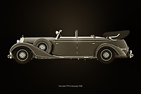 The 1938 Mercedes 770-K limousine was then the car preferred by world leaders. Ferdinand Porsche designed this Mercedes 770-K limousine before he founded his own brand and the leaders of Germany loved it. At the end of the Second World War it was used by American generals. The 1938 Mercedes 770-K limousine consists of several versions. With off-road tyres and even with the rear wheels replaced by tracks.<br /> <br /> This painting of a 1938 Mercedes 300 S Mercedes 770-K limousine can be printed very large on different materialsThis painting of a 1938 Mercedes 300 S Mercedes 770-K limousine can be printed very large on different materials –<br /> <br /> BUY THIS PRINT AT<br /> <br /> FINE ART AMERICA<br /> ENGLISH<br /> https://janke.pixels.com/featured/mercedes-770-k-black-and-white-jan-keteleer.html<br /> <br /> WADM / OH MY PRINTS<br /> DUTCH / FRENCH / GERMAN<br /> https://www.werkaandemuur.nl/nl/shopwerk/Mercedes-770-K-Zwart-en-Wit/744658/132?mediumId=11&size=75x50<br /> <br /> -