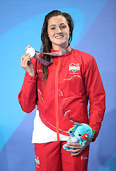 England's Molly Renshaw with her silver medal after the Women's 200m Breaststroke Final at the Gold Coast Aquatic Centre during day three of the 2018 Commonwealth Games in the Gold Coast, Australia. PRESS ASSOCIATION Photo. Picture date: Saturday April 7, 2018. See PA story COMMONWEALTH Swimming. Photo credit should read: Danny Lawson/PA Wire. RESTRICTIONS: Editorial use only. No commercial use. No video emulation.
