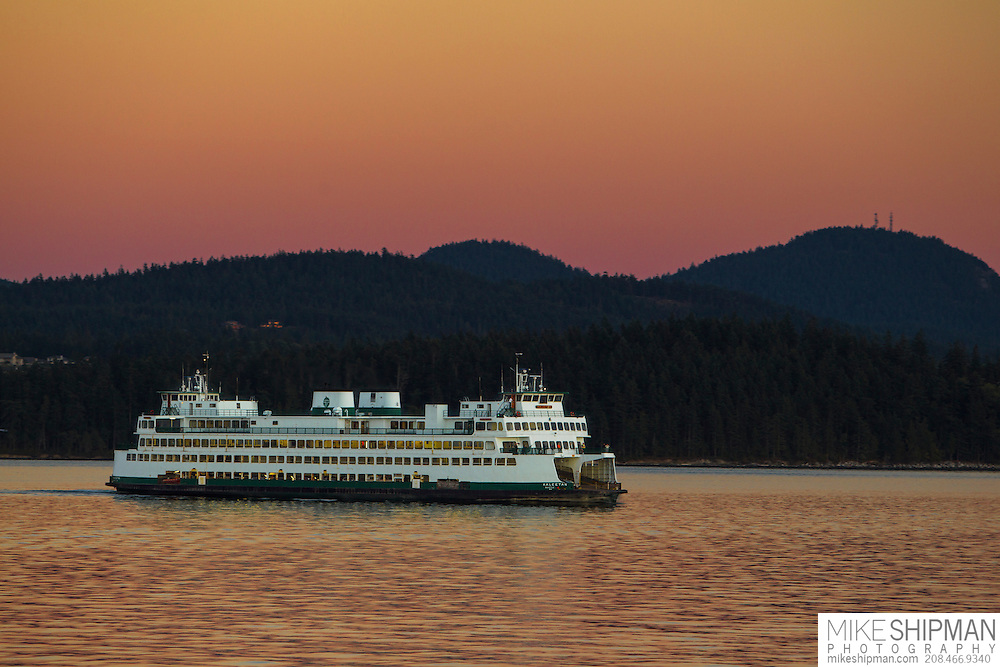 Anacortes - Friday Harbor ferry passes through Lopez Sound at sunset, Washington state, USA
