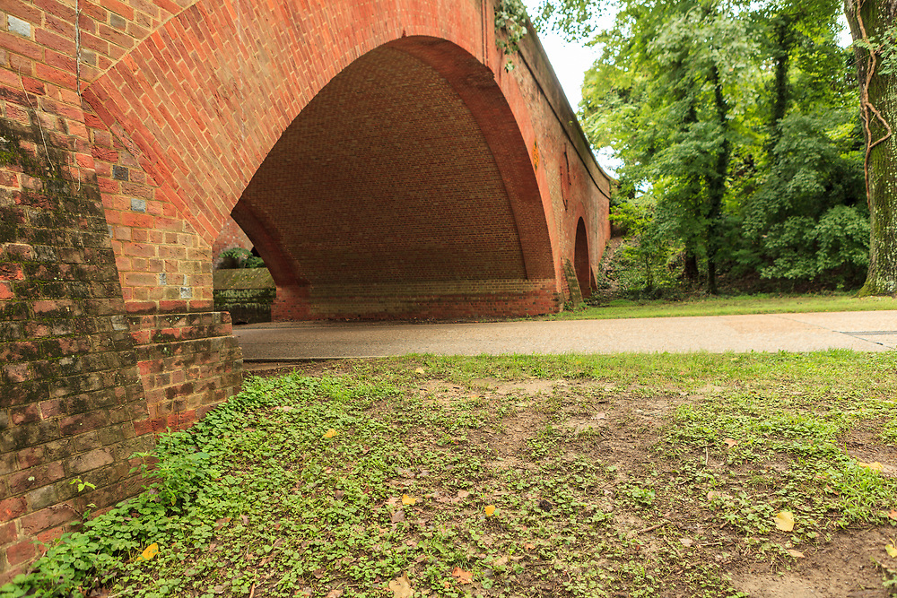 Bridge archway at the entrance to the Williamsburg historic complex.