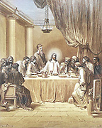 Machine colourised (AI) The Last Supper [Mark 14:22-24] From the book 'Bible Gallery' Illustrated by Gustave Dore with Memoir of Dore and Descriptive Letter-press by Talbot W. Chambers D.D. Published by Cassell & Company Limited in London and simultaneously by Mame in Tours, France in 1866