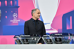 NYON, SWITZERLAND - Monday, December 14, 2020: Special guest Stéphane Chapuisat during the UEFA Champions League 2020/21 Round of 16 draw at the UEFA Headquarters, the House of European Football. (Photo Handout/UEFA)